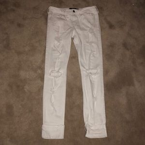 White ripped lowrise super skinny Hollister jeans